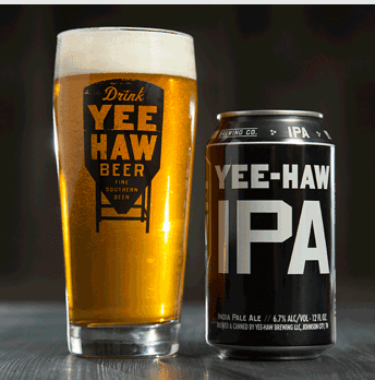 Yee-Haw IPA can and glass.