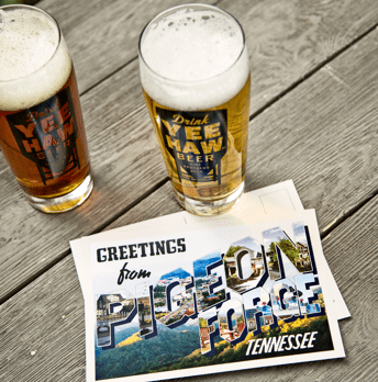 Yee-Haw beer and Pigeon Forge postcard.